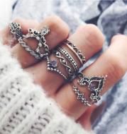 Purple Diamond Ring Set Hollow Twist Palm Crown Joint Combination 10 Pieces