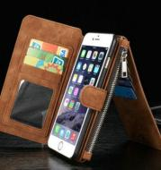 Iphone6/6s plus multi-function wallet two-in-one zipper phone protection leather case