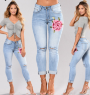 Blue low waist pencil Ripped embroidery jeans woman Stretch Skinny freddy vintage denim pants