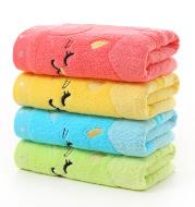 Bamboo fiber Children's jacquard embroidery notes cat small towel 25*50 cartoon baby towel