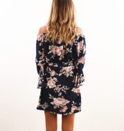 A printed loose belt dress.