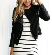 Spliced Faux Leather Suede Jacket Women Black Moto Coat Punk Camel Suede jaquetas couro Casaco chaquetas PU Slim Jacket