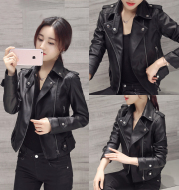 Wild leather women's short section Korean version of the pu Slim jacket jacket autumn and winter motorcycle clothing