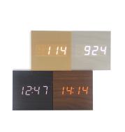 Minimalist Cube shaped sound-sensitive wooden digital clock with temperature display
