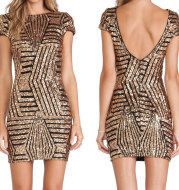 Gold sequined short sleeve hip dress
