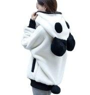 Women Winter Sweatshirt Famale Cute Plush Hooded Panda Jumper Coat Casual Loose Long-Sleeved Sweatshirt