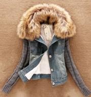 Hot Sale Autumn New cowboy jacket Large fur collar hooded wool sleeve denim jacket Plus size S-5XL ladies fashion jacket
