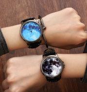 Fashion Minimalist Women Quartz Wristwatches Starry Sky Moon Pattern Design Unique Ladies Casual Watch Female Exquisite Watches