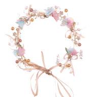 Handmade bow flower tiara bridal wreath headband Korean version of bridesmaid children's wedding garland bridal jewelry