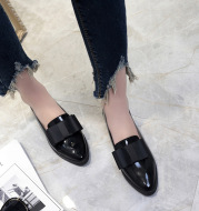 Women Flats Bowtie Loafers Shoes Women Ballet Flats Pointed Toe Shoes Patent Leather Elegant Low Heels On Flat Shoes Woman