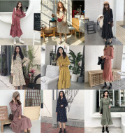 2020 autumn and winter Korean version of the floral long-sleeved tie bow chiffon dress female long section skirt