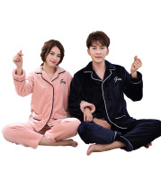 Flannel couple pajamas thick men's and women's home service
