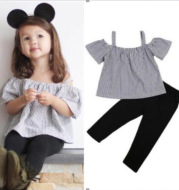 Shelby Top & Pants Set | Summer short-sleeved sling strapless striped shirt trousers two-piece children's suit