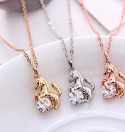 Horse and Crystal Pendant Necklace Gold Silver Rose
