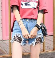 Frayed fringed fishnet hole denim shorts mesh tassel skinny wide leg hot pants