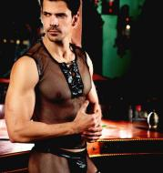 New foreign trade sexy underwear European and American sexy uniforms temptation Men's sexy tight-fitting mesh clothing