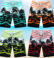 Seaside loose striped printed coconut tree beach shorts