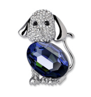Full diamond big c cute puppy brooch pin
