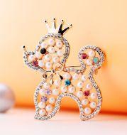 Fashion high-grade imitation pearl puppy brooch