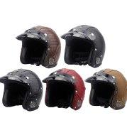 Unisex Retro Characteristic Four Seasons Universal 3/4 Leather Motorcycle Electro-mobile Helmet MTB helmet