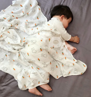 Baby holding a blanket towel double-layer yarn bamboo newborn baby towel