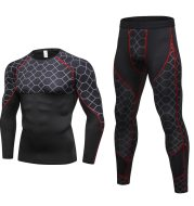 Men's Compression Run jogging Suits Grid Clothes Sports Set Long t shirt And Pants Gym Fitness workout Tights clothing 2pcs Sets