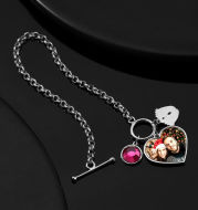 Women's Heart Tag Photo Bracelet With Engraving Silver