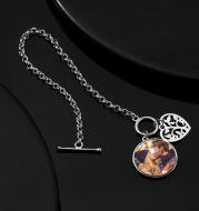 Women's Round Tag Photo Bracelet With Engraving Silver
