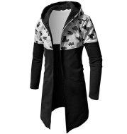 Men's Autumn Winter Casual Camouflage Zipper Long Sleeve Top Blouse Jacket Coat Mens Winter Warm Plus Thicker Long Coat