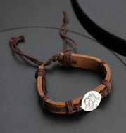Men's Round Photo Engraved Tag Bracelet Brown Leather Strap
