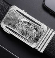 Men's Custom Photo (Black And White) Buckle Cow Leather Belt