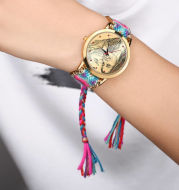 Women's Gold Photo Engraved Watch Braided Color Rope Strap