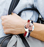 Unisex Engraved Rose Goldtone Photo Watch Color Nylon Strap 40mm