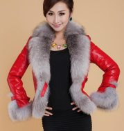 Best-selling Autumn / winter Jacket woman fur coat fashion imitation fox fur collar women coat slim short PU leather coat
