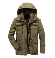 Dad loaded men's jacket cotton coat long XL jacket winter plus velvet thickened middle-aged cotton clothes