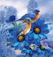 5D Diamond Painting - Vögel auf Blumen