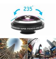 Universal 235 Degree Super Fish Eye Mobile Phone Camera Lenses For iPhone Lens Super Wide Angle HD Metal Phone Clip-on Fisheye