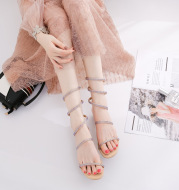 Word with thick and Roman straps with snake-shaped winding rhinestone sandals