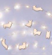 Creative 50 LED Wooden Corgi Light String Holiday Cute Animal Fairy Lamp USB Plug Wedding Decor Christmas Party Bedroom Romantic
