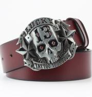 Ghost Head Series Big Strap Casual Taro Decorative Belt Leather
