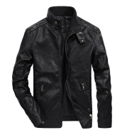 Men's PU Leather Short Stand Collar Youth Motorcycle Leather Jacket