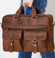 Genuine men''s bags retro men''s business bags briefcase cowhide oblique Bag 15.6 inch Laptop Bag