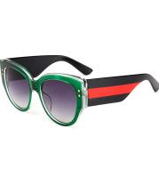 Translucent color striped round sunglasses