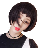 Naturally realistic student short straight hair wig