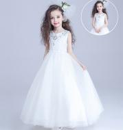Girls dress flower girl dress princess dress wedding dress children long sleeved costumes and long chair