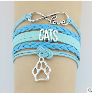 1243364863195 Hand-knitted Cats Animal Paw Charm Bracelet Braided Bracelet