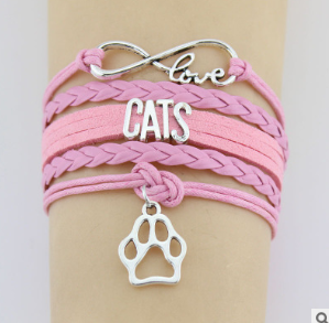 1974466264275 Hand-knitted Cats Animal Paw Charm Bracelet Braided Bracelet