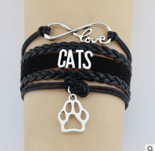 4372706735672 Hand-knitted Cats Animal Paw Charm Bracelet Braided Bracelet
