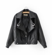 Lapel single-breasted double-pocket casual loose leather