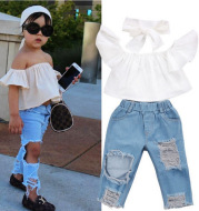Girl's Hole Jeans White Top 3 Piece Set